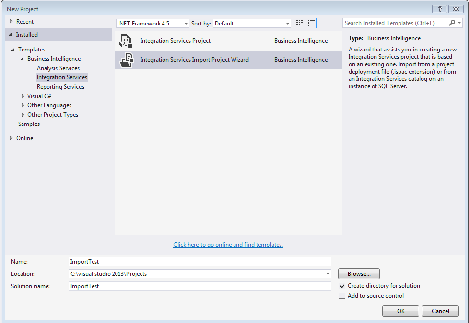 Import .ispac file or deployed project back into a Visual Studio ...